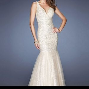 La Femme Dresses - White and gold formal gown